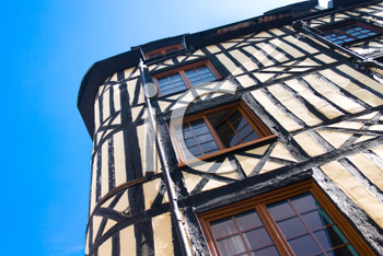 Old Studwork house facade and blue sky in Rouen, France, Normandie