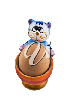 Amusing eggcup with blue cat
