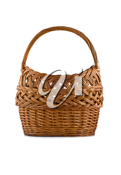 Beautiful woven basket for picnic isolated over white background