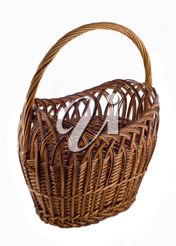 Brown Wicker woven basket over white background