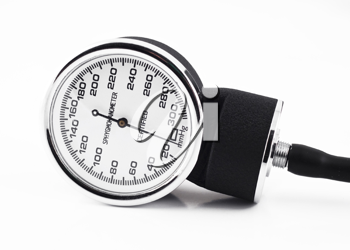 Closeup of medical sphygmomanometer isolated over white