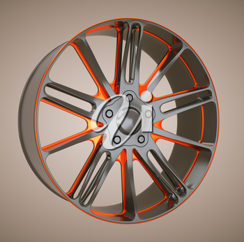 Alloy wheel or disc of sportcar. Black and red. Large resolution