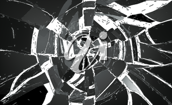 Many pieces of Deflated and shattered glass over white. Useful as background