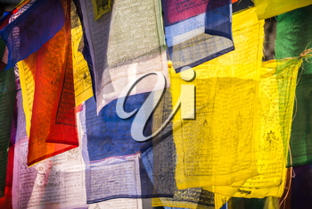 Colorful Prayer flags as symbol of buddhism. religion in Asia