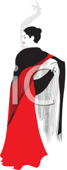 Royalty Free Clipart Image of a Flamenco Dancer