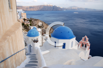 Royalty Free Photo of a View of the Caldera in Santorini