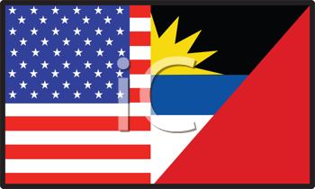 Royalty Free Clipart Image of a Half American, Half Antigua Barbuda Flag