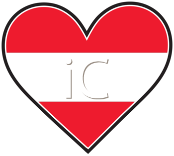 Royalty Free Clipart Image of a Heart With an Austrian Flag