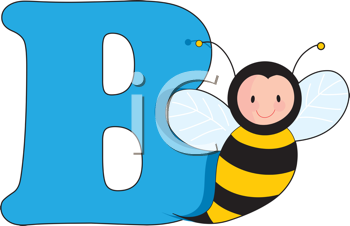 Royalty Free Clipart Image of a Bee With a B