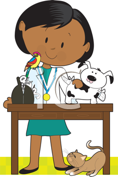 Royalty Free Clipart Image of a Veterinarian With Animals
