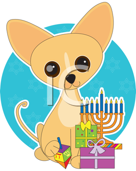 Royalty Free Clipart Image of a Chihuahua at Hanukkah