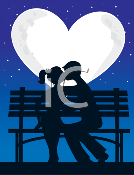 Royalty Free Clipart Image of a Couple Kissing