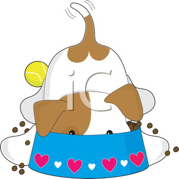 Royalty Free Clipart Image of Puppy Eating Its Food