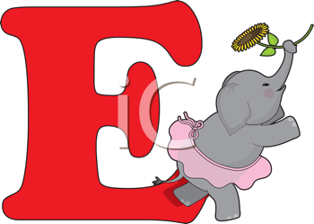 Royalty Free Clipart Image of an Elephant With an E