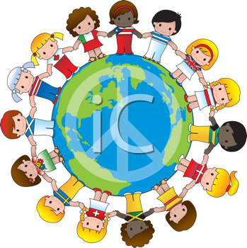 Royalty Free Clipart Image of a Globe With a Peace Sign and Children Wearing Their Country's Flag Holding Hands Around It