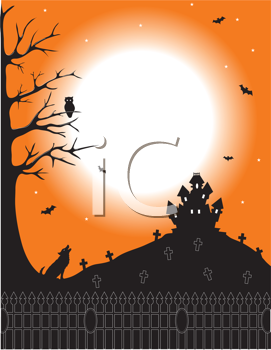 Royalty Free Clipart Image of a Haunted House on the Hill of a Cemetery