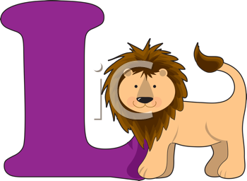 Royalty Free Clipart Image of a Lion Beside L