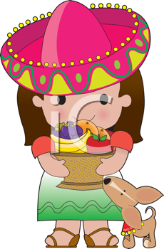 Royalty Free Clipart Image of a Mexican Girl With a Basket of Fruit