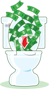 Royalty Free Clipart Image of Dollar Bills Going Down the Toilet