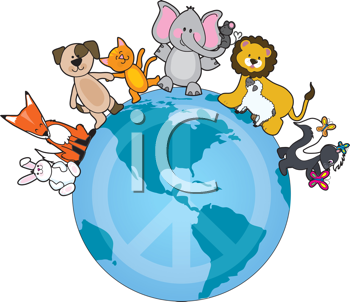 Royalty Free Clipart Image of Animals on Earth