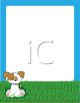 Royalty Free Clipart Image of a Puppy on the Lawn By a Frame