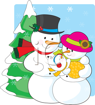 Royalty Free Clipart Image of a Snow Couple With a New Baby