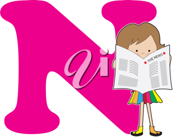 A young girl holding a newspaper to stand for the letter n