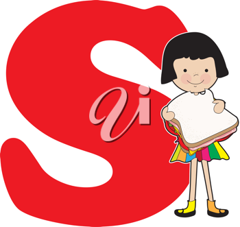 A young girl holding a sandwich to stand for the letter S