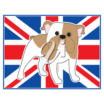 A cartoon illustration of an English Bulldog with a British flag in the background