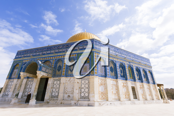 Jerusalem, Israel- March 14,2017:View of the Dome Of The Rock at Temple Mount in Old Jerusalem, the third holiest place in Islam.