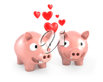Two piggy banks fall in love, isolated on white background