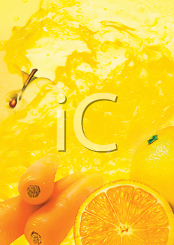 Royalty Free Clipart Image of an Orange and Carrot Juice Background