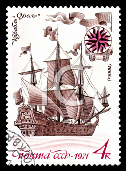 Royalty Free Clipart Image of a Stamp With a Ship