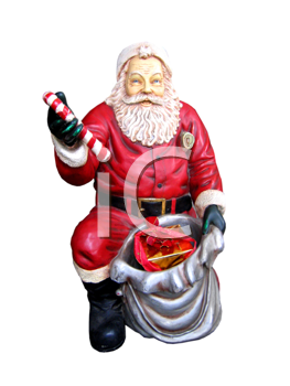 christmas statue of santa claus isolated on the white background