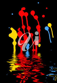 colorful blots on a black background mirrored in the water surface
