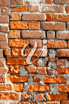close-up of very old brick wall background