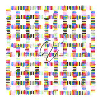 Colorful intersection dotted line pattern on white background