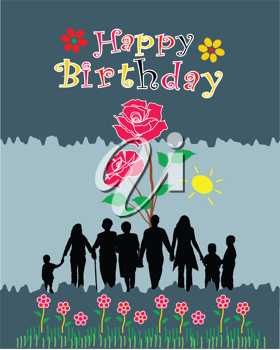 Royalty Free Clipart Image of a Happy Birthday Greeting With a Rose and Silhouetted People