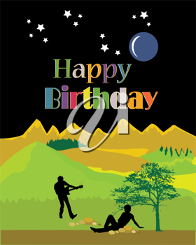 Royalty Free Clipart Image of Guitarist and Another Person Under a Tree on a Happy Birthday Greeting