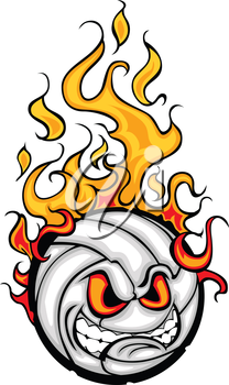 Flaming Volleyball Ball Face Cartoon Illustration Vector