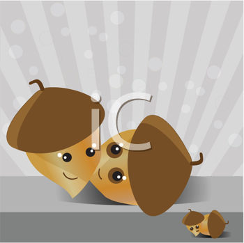 Royalty Free Clipart Image of Smiling Acorn