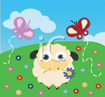Royalty Free Clipart Image of a Sheep With a Flower