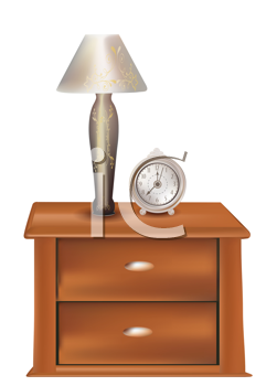 Royalty Free Clipart Image of  a Lamp and Clock on a Nightstand