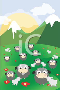 Royalty Free Clipart Image of Sheep in a Meadow