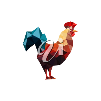 Illustration of origami rooster isolated on white background
