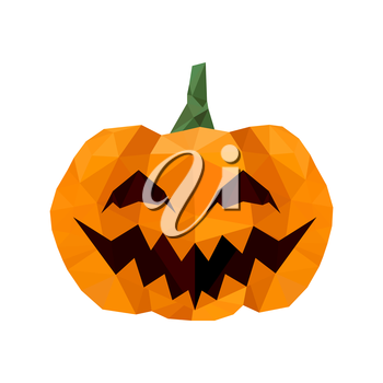Modern flat design with halloween origami pumpkin isolated on white background