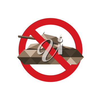 Forbidden sign for military tanks isolated on white background