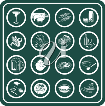 Royalty Free Clipart Image of Food and Drink Icons