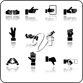 Royalty Free Clipart Image of Hand Icons