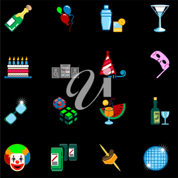 Royalty Free Clipart Image of Party Icons